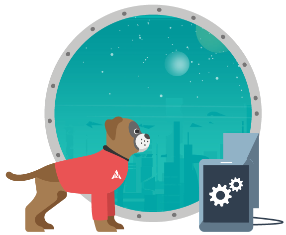 Harvey the boxer dog is looking out of a port hole window at the stars in space. Specifically the North Star.