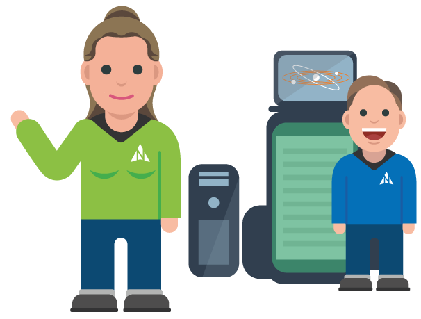Avatar of two of Northstar IT crew with IT equipment.