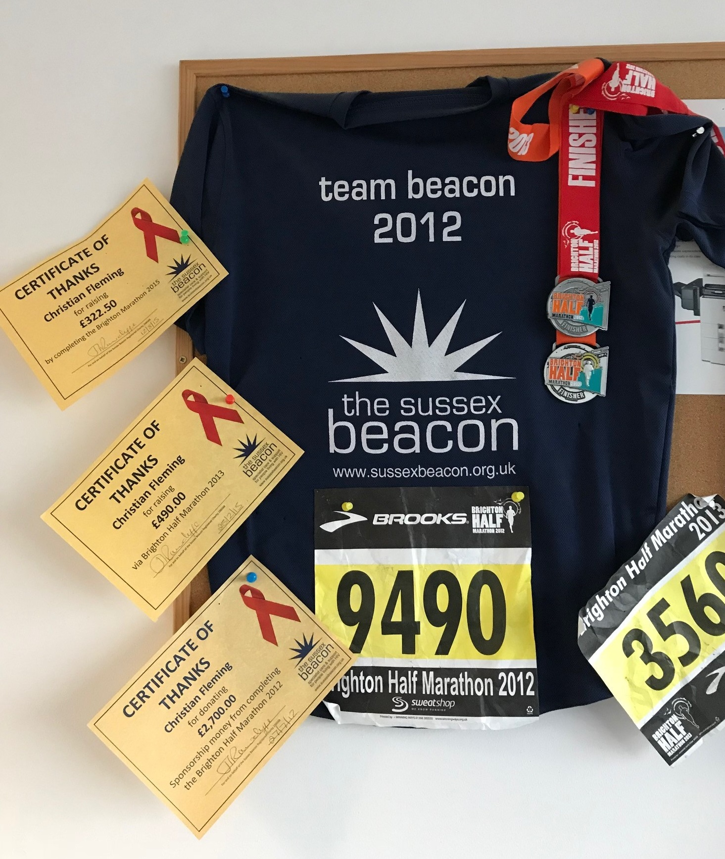 2012 Brighton Half Marathon Shirt and Certificates