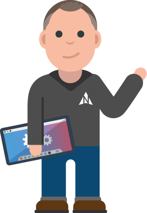 An avatar image of one of Northstar IT's male IT engineers holding a computer looking helpful.
